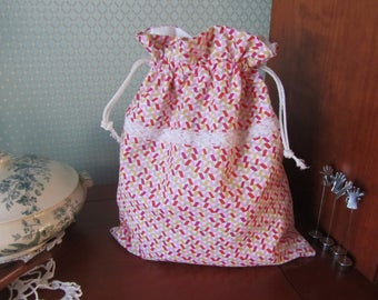 DrawString bag (mostly pink, lined with vintage fabric)