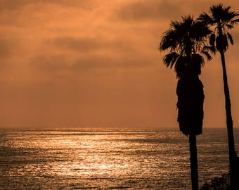 Palm Trees – Sunset – Pacific Ocean – Beach Photography, Tropical Sunset, Wall Art, Palm Tree Print, Bedroom Decor, Palm Tree Photography