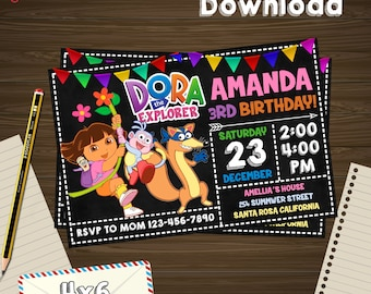 Instant download, Dora invitation, Dora birthday, Dora PDF, Dora editable, Dora download, Dora edit, Dora card, Dora the explorer
