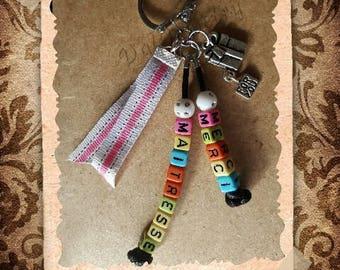 "Key cube alphabet letters / jewelry bag ""Thank you teacher"""