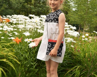 Children's dress white and black sleeveless (with matching purse)