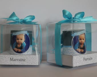 2 candles with personalized christening photo