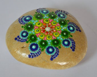 Painting on Pebble, multicolored hypnotic mandala