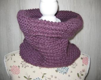 woman in light purple mohair wool snood
