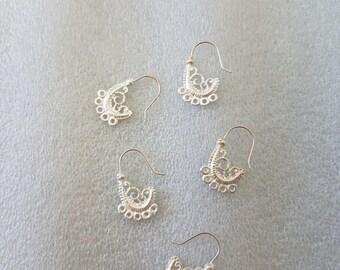 Filigree silver drill earring