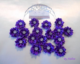 Small applique fabric flowers in purple satin with Rhinestones