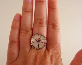 Fancy ring silver adjustable flower pattern