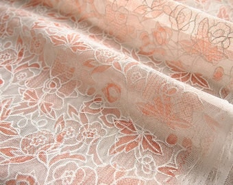Pink and white tulle fabric printed romantic poetic 145 * 50 cm