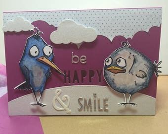 "single model card: ""be happy and smile"" birds!"