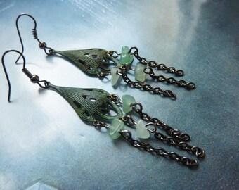 Gemstone earrings retro rustic green verdigris chandelier and stones