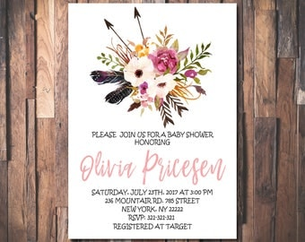 Floral Boho Baby Shower Invitation, Feathers, Arrows, Tribal Boho Baby Shower Invitation, Rustic Boho Chic Printable Invitation 1092