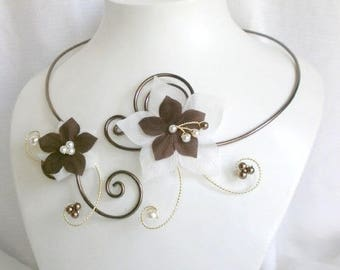 Eden - Necklace jewelry wedding bridal flowers ivory and chocolate brown
