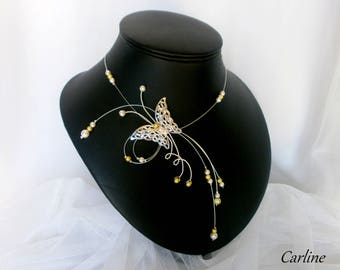 Wedding ivory and Lime Green Butterfly Necklace - Carline-swarovski crystal beads