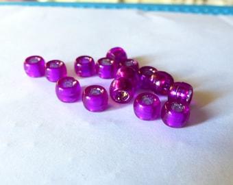 Set of 5 large transparent purple beads