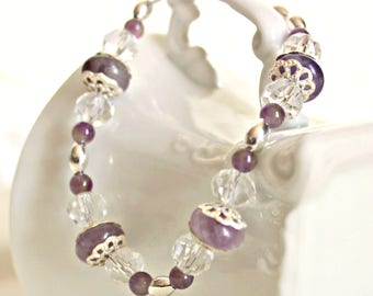 Amethyst Bracelet, February Birthstone Bracelet, Romantic Jewelry