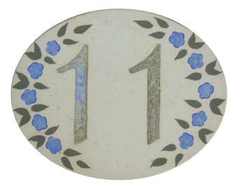 Door plate, stoneware, number 11, oval, Blue Flax flowers will withstand Frost