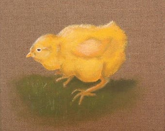 "Painting on linen, ""yellow chick"" 20 x 20 cm"