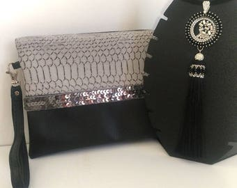 Clutch faux leatherette dragon grey and black stripe glitter