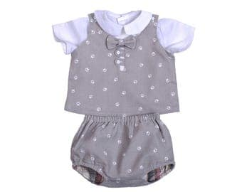 Set baby boy chic gray bloomers and jacket