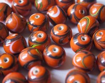 Pearl Indian glass Orange/Brown 1.2 cm