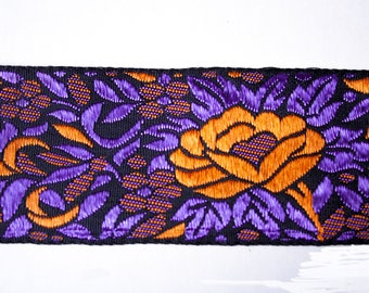 Woven floral Orange Purple 5 cm x 50 cm black ribbon