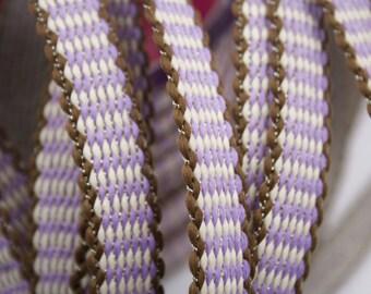 Stripe Brown purple white wire Gold 1.4 cm x 1 m