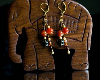 Stylish & Exotic Earrings mix of brown colours. Burnt Orange Banded Agate and Smokey Quartz on gold plated hooks