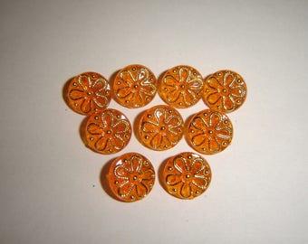 10 buttons ORANGE & gold / / 12 mm / / vest jacket