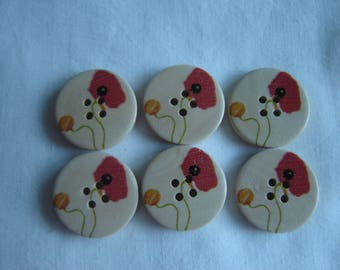 6 buttons poppies flowers / / 25 mm