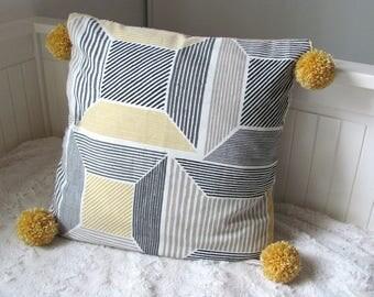 Cotton Cushion cover pattern geometric yellow/gray/black tassels
