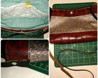 bag has handmade Burgundy faux glitter