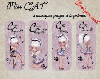 "4 bookmarks to print ""Miss cat"""