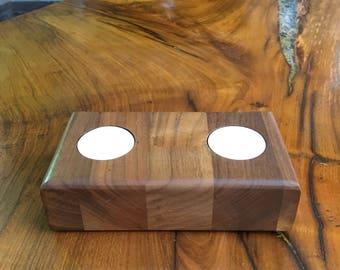 Wooden Staved Walnut Tealight Holder Double, Birthday, Housewarming, Valentines, Mothers Day, Gift, Present, Rustic Homeware