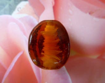 26 mm Murano glass bead shaped spiral Topaz color