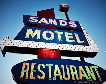 Sands Motel and Restaurant - Roadside Neon Googie Sign Photograph