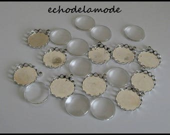 20pcs 10 blank round silver pendants 10 glass cabochons