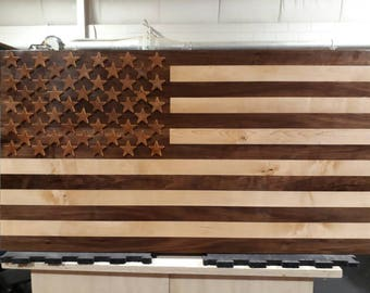 Walnut and Maple American Flag