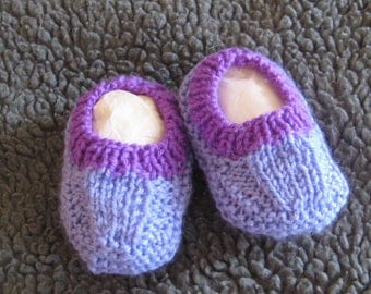 Hand knitted baby booties - blue with purple trim
