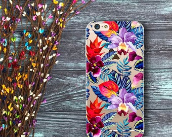 Transparent case with exotic flowers for iPhone 7 iphone 6 iphone se iphone 7 plus iphone 6 plus iphone 5 iphone 5s iphone SE exotic flowers