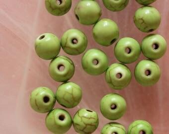 Lot 4 x _ howlite round bead Green ❤