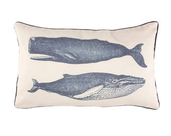 Set of 2 vintage whale cushions