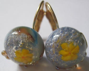 Golden brass with cabochon handmade Lampwork dangle earrings!