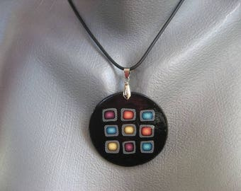 Black/multicolor pop necklace made of polymer clay - diameter 40 mm