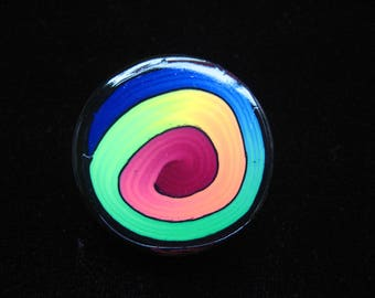 Large pop ring black/multicolor spiral polymer clay (Fimo)