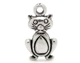 1 pendant 20 mm silver cat charm spacer