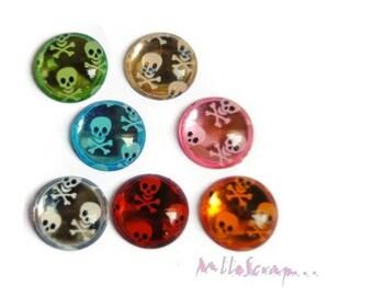 Set of 7 skulls embellishments scrapbooking card making decorations *.
