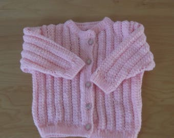 Vest pink wool baby 3 to 6 months