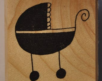 Rubber stamp mounted on wood - birthplace - pram