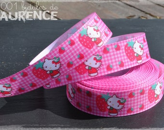 Ribbon grosgrain - pink Hello Kitty and strawberries - 22