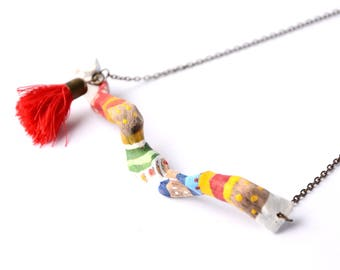 Painting on Driftwood ethnic necklace